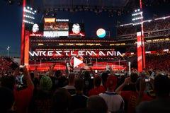 Campeão Brock Lesner F-5ing Roman Reigns de WWE fora da parte superior do seu Imagem de Stock Royalty Free