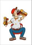 Campeão comendo o sandwitch ilustração stock