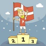 Campeão da ilustração dos desenhos animados de Dinamarca com a bandeira em sua mão ilustração do vetor