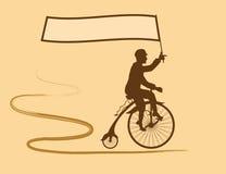 Campeão do ciclismo e a bandeira de seu país Imagens de Stock
