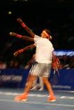 Campeão Juan Martin Del Potro do grand slam de Argentina na ação durante evento do tênis do aniversário da prova final de BNP Par Fotos de Stock