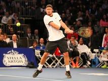 Campeão Lleyton Hewitt do grand slam de Austrália na ação durante evento do tênis do aniversário da prova final de BNP Paribas o  Foto de Stock Royalty Free