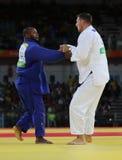Campeão olímpico República Checa Judoka Lukas Krpalek no branco após a vitória contra Jorge Fonseca de Portugal Foto de Stock Royalty Free