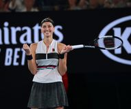 Campeão Petra Kvitova de Grand Slam de República Checa na ação durante seu fósforo de semifinal no australiano 2019 aberto no par imagem de stock royalty free
