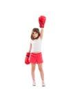 Campeón adorable de la muchacha del boxeador imagenes de archivo