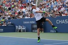 Campeón Andy Murray del Grand Slam durante tercero partido de la ronda en el US Open 2014 Imagen de archivo