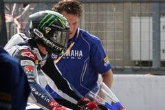 Campeón de Chaz Davies Yamaha R6 Supersport Fotos de archivo libres de regalías