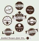 Campeón de la liga de baloncesto y todas las escrituras de la etiqueta de la estrella ilustración del vector