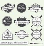 Campeón de la liga del beísbol con pelota blanda y todas las escrituras de la etiqueta de la estrella Imagenes de archivo