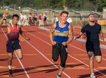 Campeón de 100 metros Imágenes de archivo libres de regalías