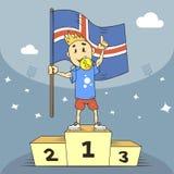Campeón del ejemplo de la historieta de Islandia en la camisa azul stock de ilustración
