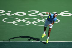 Campeón Juan Martin Del Potro del Grand Slam de la Argentina en la acción durante su partido de semifinal de la Río 2016 Juegos O Imagen de archivo