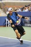 Campeón Lleyton Hewitt del Grand Slam de dos veces de Australia en la acción durante su partido pasado del US Open Imágenes de archivo libres de regalías
