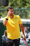 Campeón Marin Cilic del Grand Slam de Croacia en la acción durante su tercer partido de la ronda en Roland Garros 2015 Imagen de archivo