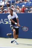 Campeón Marin Cilic del US Open 2014 de Croacia durante el partido redondo 4 del US Open 2014 Imagen de archivo libre de regalías