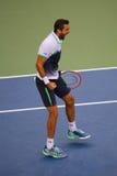 Campeón Marin Cilic del US Open 2014 durante partido final contra Kei Nishikori en Billie Jean King National Tennis Center Fotografía de archivo