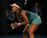 Grand Slam champion Naomi Osaka of Japan in action during her semifinal match at 2019 Australian Open in Melbourne Park