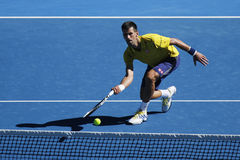 Campeón Novak Djokovic del Grand Slam de once veces de Serbia en la acción durante su partido de la ronda 4 en Abierto de Austral fotografía de archivo libre de regalías