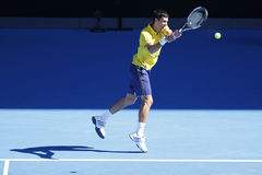 Campeón Novak Djokovic del Grand Slam de once veces de Serbia en la acción durante su partido de la ronda 4 en Abierto de Austral Fotos de archivo