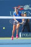 Campeón Petra Kvitova del Grand Slam de dos veces durante partido de la ronda del US Open 2014 primero contra Kristina Mladenovic Imagen de archivo libre de regalías