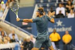 Campeón Rafael Nadal del Grand Slam de doce veces durante el segundo partido de la ronda en el US Open 2013 Fotografía de archivo libre de regalías