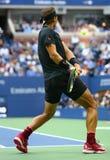 Campeón Rafael Nadal del Grand Slam de España en la acción durante su partido final 2017 del US Open Foto de archivo libre de regalías