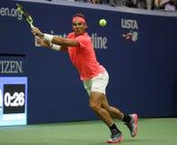 Campeón Rafael Nadal del Grand Slam de España en la acción durante su partido de la ronda del US Open 2017 primero Fotografía de archivo libre de regalías