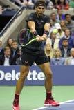 Campeón Rafael Nadal del Grand Slam de España en la acción durante su partido 2017 de semifinal del US Open Imágenes de archivo libres de regalías