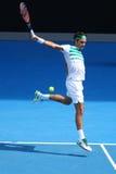Campeón Roger Federer del Grand Slam de diecisiete veces de Suiza en la acción durante partido del cuarto de final en Abierto de  imágenes de archivo libres de regalías