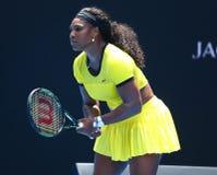 Campeón Serena Williams del Grand Slam de veinte un veces en la acción durante su partido final cuarto en Abierto de Australia 20 Foto de archivo libre de regalías