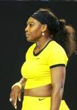 Campeón Serena Williams del Grand Slam de veinte un veces en la acción durante su partido final en Abierto de Australia 2016 fotografía de archivo libre de regalías