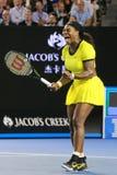 Campeón Serena Williams del Grand Slam de veinte un veces en la acción durante su partido final en Abierto de Australia 2016 fotografía de archivo