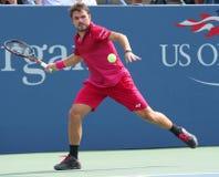 Campeón Stanislas Wawrinka del Grand Slam de Suiza en la acción durante su partido redondo cuatro en el US Open 2016 Fotografía de archivo