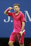 Campeón Stanislas Wawrinka del Grand Slam de tres veces de Suiza en la acción durante su partido final en el US Open 2016 Imagenes de archivo