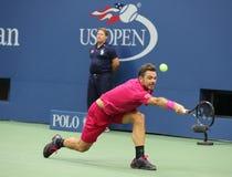 Campeón Stanislas Wawrinka del Grand Slam de tres veces de Suiza en la acción durante su partido final en el US Open 2016 Foto de archivo
