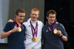 Campeões de ciclagem olímpicos britânicos da perseguição da equipe Imagem de Stock Royalty Free