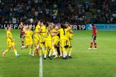 Campeões do europeu da equipa nacional do futebol da Suécia Imagem de Stock Royalty Free