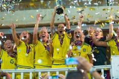 Campeões do europeu da equipa nacional do futebol da Suécia Imagens de Stock