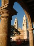 Campeche cathedral. Catedral de la Nuestra Senora de la Concepcion and tourist tram, Campeche stock photo