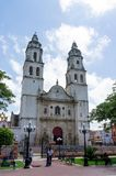 Campeche Cathedral, Church in City Center, Campeche, Mexico stock photography