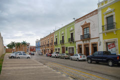 Campeche, Mexico -  January 01, 2010: downtown street with typic Stock Images