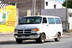 Dodge Ram Van. Campeche, Mexico - May 20, 2017: White passenger van Dodge Ram Van in the city street royalty free stock image