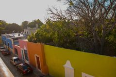 CAMPECHE, MEXICO: Top view of the house of deceit, where the walls are, and the house is not. San Francisco de Campeche. CAMPECHE, MEXICO: Top view of the house stock photo