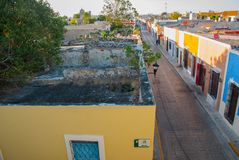 CAMPECHE, MEXICO: Top view of the house of deceit, where the walls are, and the house is not. San Francisco de Campeche. CAMPECHE, MEXICO: Top view of the house stock photography