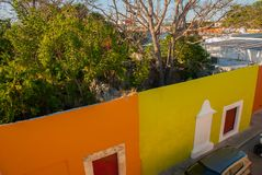 CAMPECHE, MEXICO: Top view of the house of deceit, where the walls are, and the house is not. San Francisco de Campeche. CAMPECHE, MEXICO: Top view of the house stock image