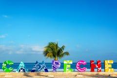 Campeche tecken och havssikt royaltyfri fotografi
