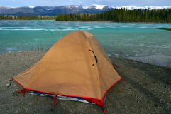 Camped on a Frozen Lake Stock Photography