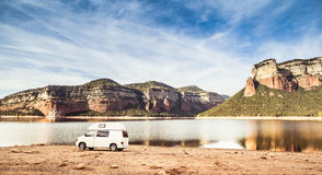 Camped motorhome Stock Photo