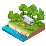 Campeggiatore di rv nel campeggio, viaggio di vacanza di famiglia, viaggio di festa nell'illustrazione isometrica di vettore pian Fotografie Stock Libere da Diritti