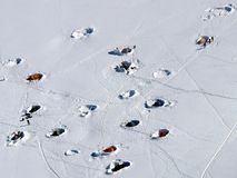 Campeggio alpino Fotografie Stock